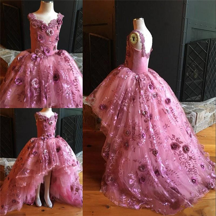 New Pink Puffy Tulle Real Pictures   Girls     Dresses   3D   Flowers   Lace   Flower     Girls     Dresses   Pageant Party Gown Custom Made Size