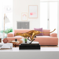 3D Modeling Sculpture Leopard Bronze Sculpture Modern Art Wildlife Leopard Statue Copper Office Ornament Craft Home Desk Decor
