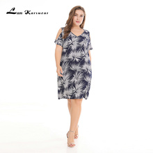 Lan Karswear 2019 Summer Dress Short sleeved Tie-dye Strapless Women Beach Leaves Print Chiffon Dresses Plus Size XXXL