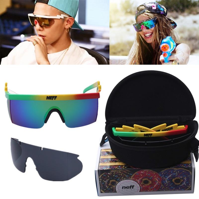 Con embalaje 2017 nuevas Gafas De Sol mujer marca diseñador Neff espejo Gafas De Sol hombres 2 unidades lente Gafas De Sol De Las mujeres