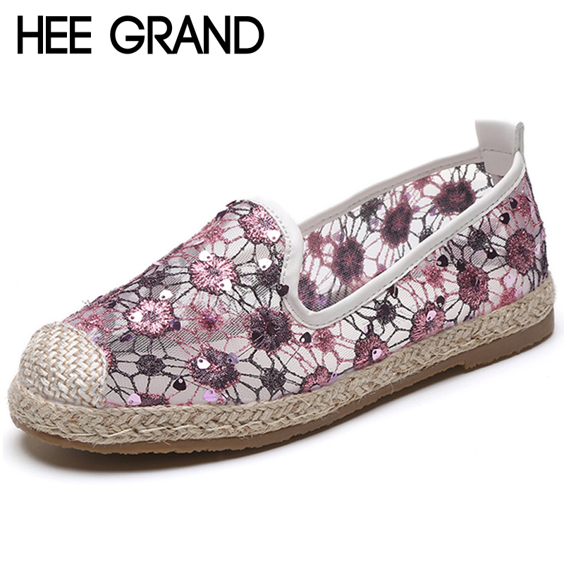 HEE GRAND Breathable Casual Woman Shoes Air Mesh Sliver Color Woman Flats Loafers Comfortable Slip on Woman Shoes XWD6603 fashion woman casual shoes wild lace up loafers women flats comfortable footwear woman shoes breathable female shoes