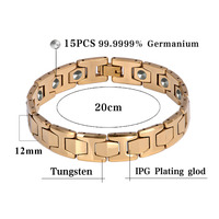 Hottime Luxury 15 PCS 99 9999 Germanium Bracelet Men Chain Link Health Energy Magnetic Tungsten Steel