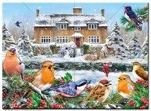 Diy Diamond painting kits snow bird house diamond resinstones square embroidery set unfinish decorative