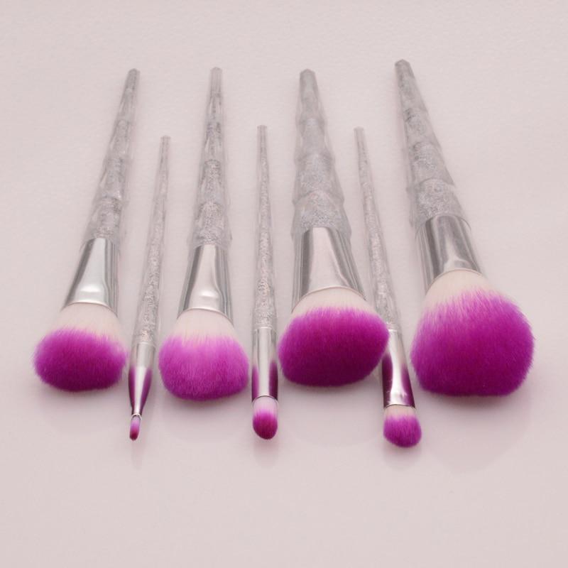 7pcs makeup brushes set professional kit colorful glitter diamond handle makeup brush powder blush eyebrow beauty tools (OS0607)