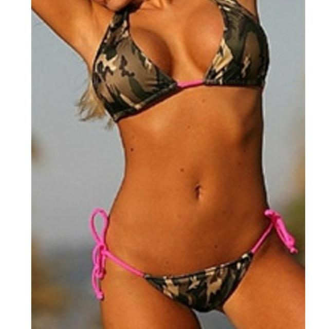 Camouflage Army Green Lacing Triangle Bikini