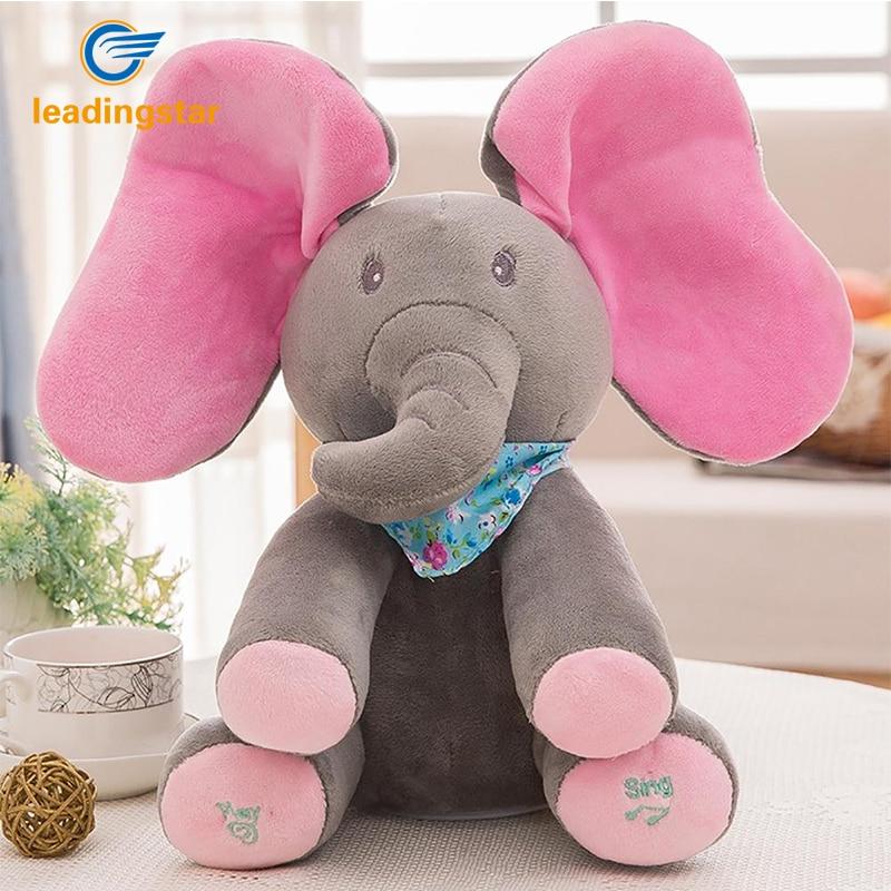 Leadingstar Peek a boo Elephant Play Hide And Seek Lovely Cartoon Stuffed Elephant Kids Birthday Gift 30cm Cute music Elephant seek thermal