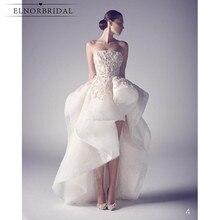 겸손한 높은 낮은 웨딩 드레스 2020 Vestidos 드 Novia Strapless Appliqued 레이스 Organza 신부 가운 Handmade gelinlik