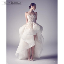 Modest High Low Wedding Dresses 2020 Vestidos De Novia Strapless Appliqued Lace Organza Bridal Gowns Handmade gelinlik
