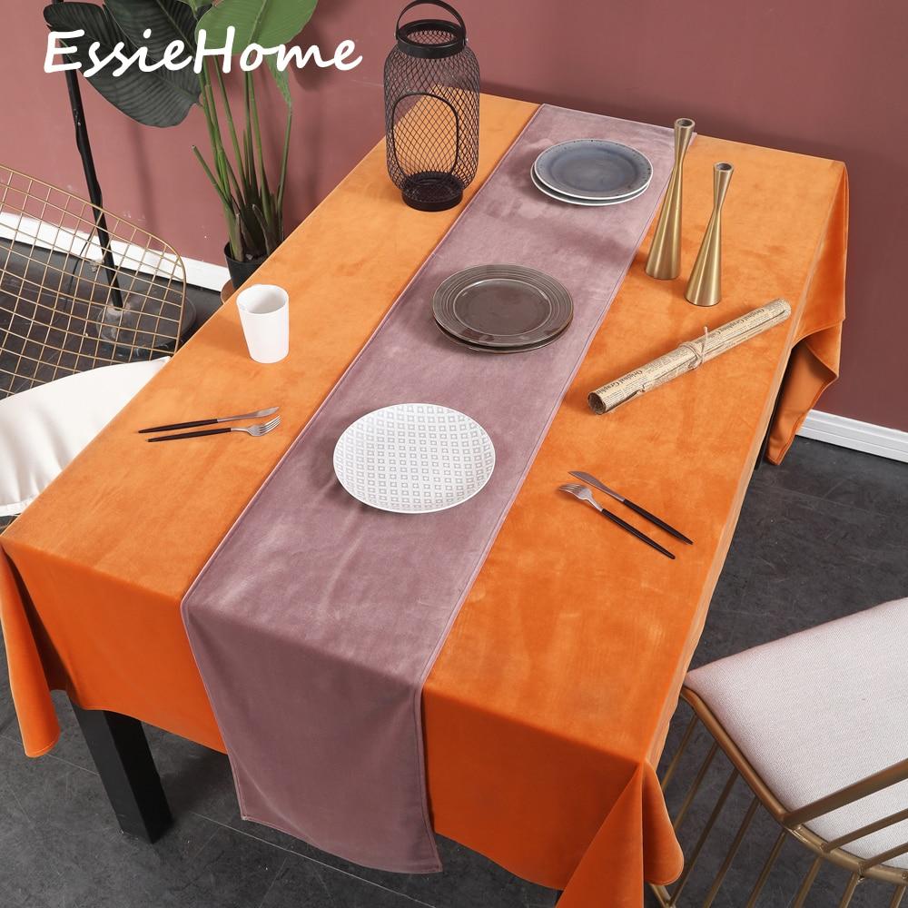 ESSIE HOME Dusty Pink Rose Grey Single Side Matte Velvet High End Table Runner Wedding Decoration Placemat