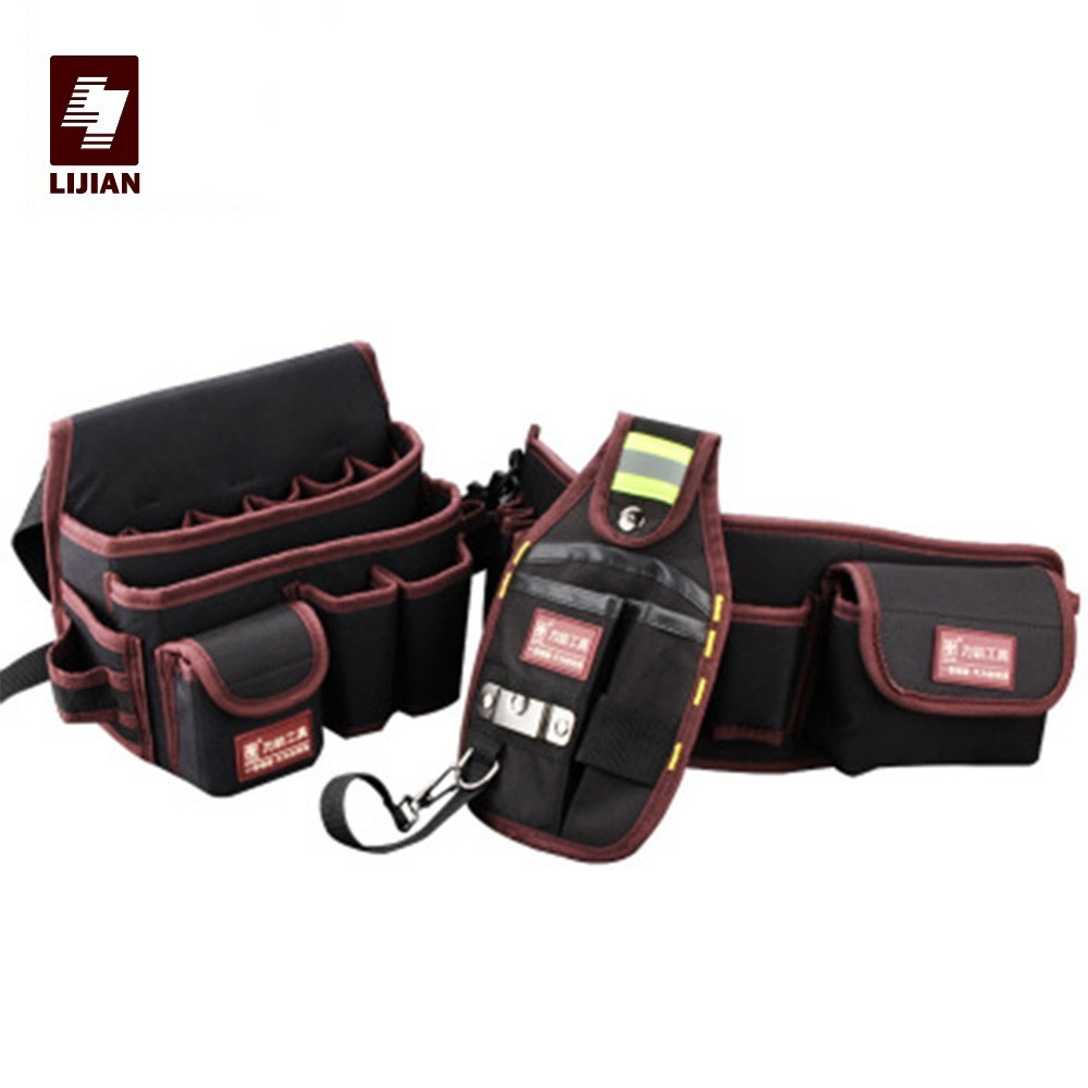 LIJIAN High Quality Holder Electrician 600D Water Proof Cloth Rivet Fixed Tool Bag Belt Utility Kit Pocket Pouch