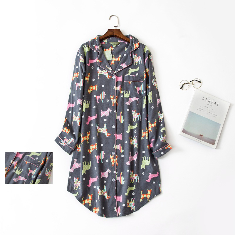 2018 spring 100% brushed cotton sleepshirts women cartoon dog long sleeves casual womens cotton nightgown sleepwear