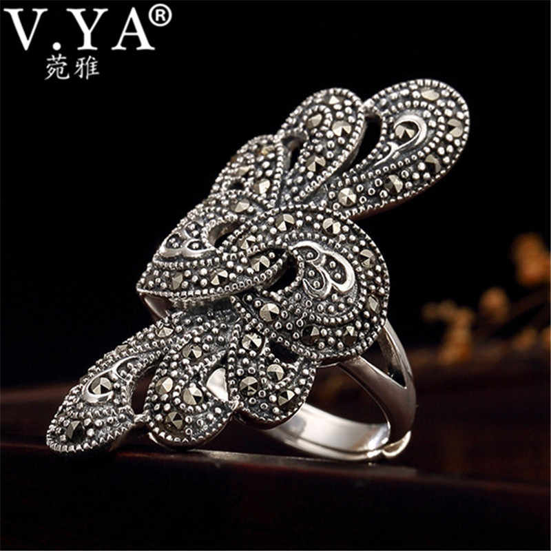 V.YA 925 Silver Flower Ring for Women Adjustable Rings Retro S925 Sterling Silver Jewelry Gifts Female Ladies Gifts