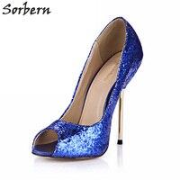Sorbern الزرقاء الأحذية ذات الكعب بريق أحذية اللمحة تو مضخات المرأة أحذية الكعوب اللمحة تو عالية الكعب حجم 42 معدن الذهب اللباس حذاء