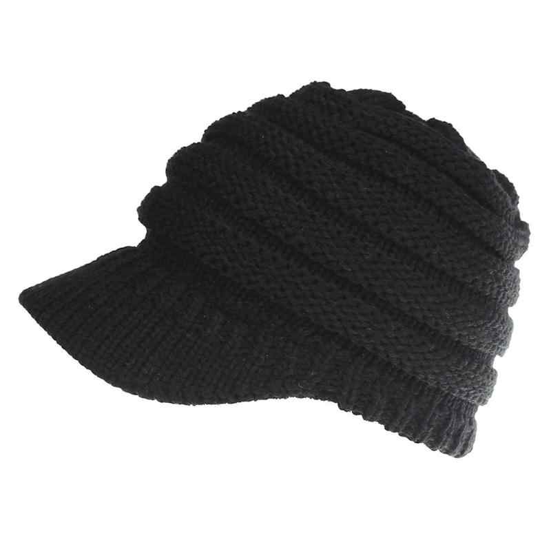 1c09c52dc5d ... 2018 hot sale Women s Knitted Baseball Cap Open Ponytail Visor Cap Ski  Cap Beanie Hat Winter ...