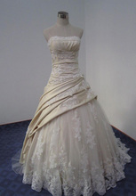 Free Shipping Handmade Ball Gown Strapless Lace Up Back Sweep Train Tulle Real Photos Wedding Dress With Appliques MD090