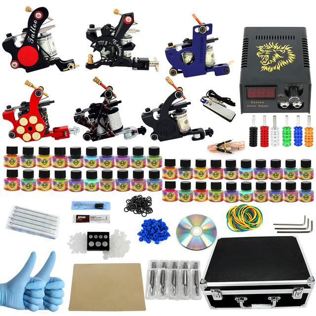 ITATOO Plumas Kit de Tatuaje Barato Set Máquina De Tatuaje Kit de Tatuaje Ametralladora de Tinta Suministros De Joyería Arma Profesional PX110007