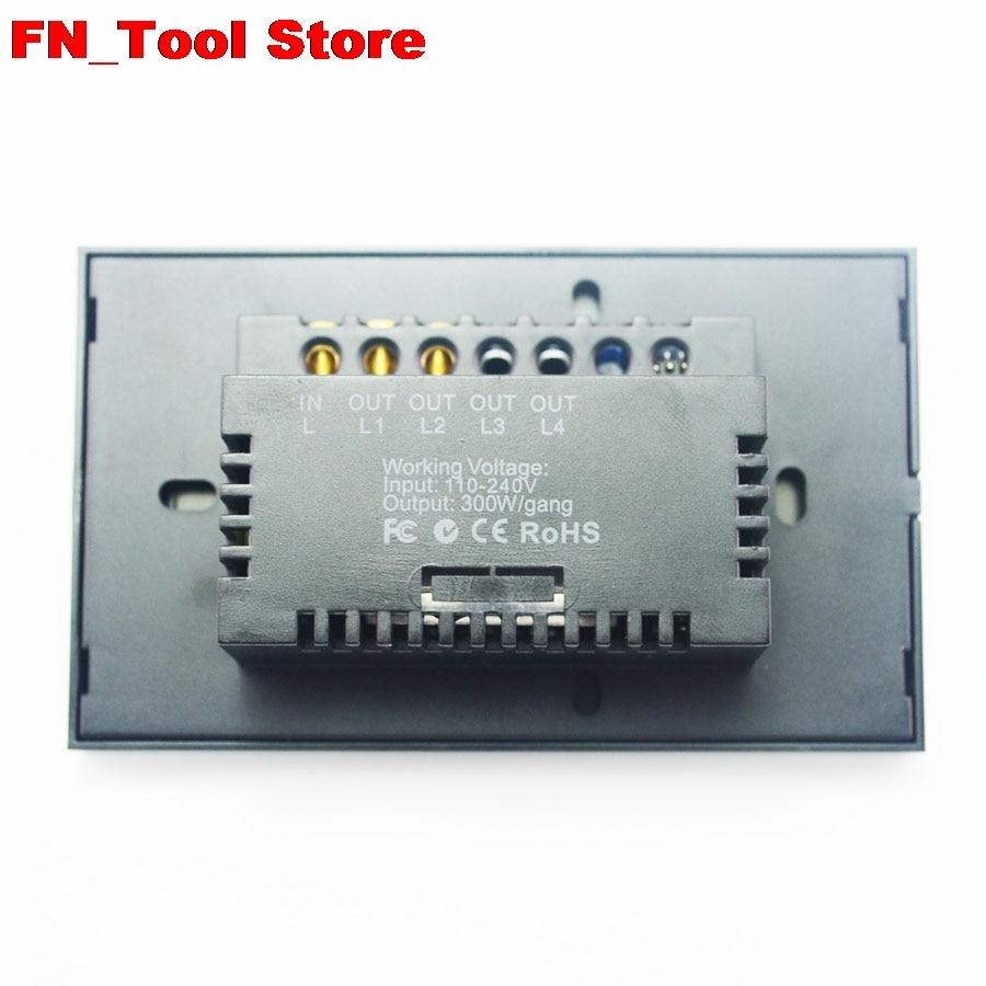 Interrupteur tactile 2 gangs 1 voie US standard panneau de verre cristal simple FireWire interrupteur mural tactile - 5