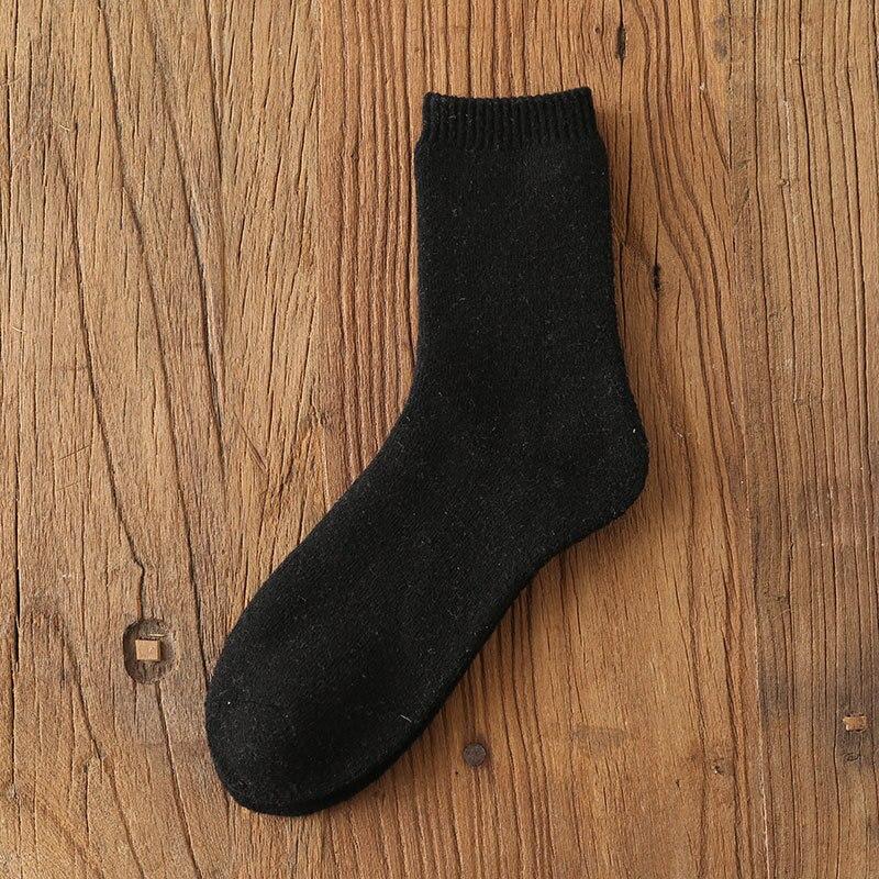 Мужские уютные кашемировые зимние мужские толстые носки зимние теплые пушистые носки-тапочки шерстяные однотонные мужские носки Chaussette Homme Calcetines - Цвет: Thicken Black