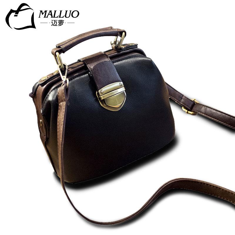 MALLUO PU Leather Women Bag Fashion Women Messenger Bags Rivet Chain Shoulder Bag High Quality Leather Crossbody Bolsa Feminina
