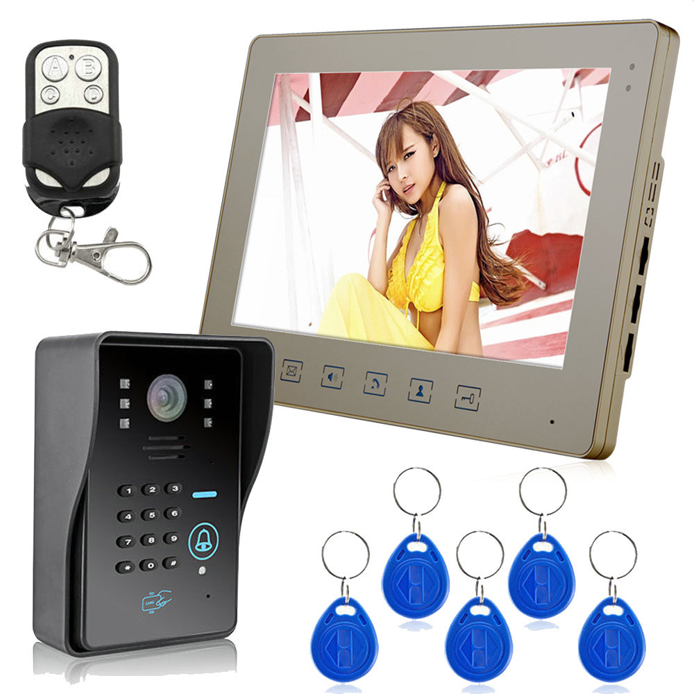 """10"""" Wired Video Intercom Doorbell Rainproof Door Phone Camera Chime With Keypad Reader For Cctv Home Security"""