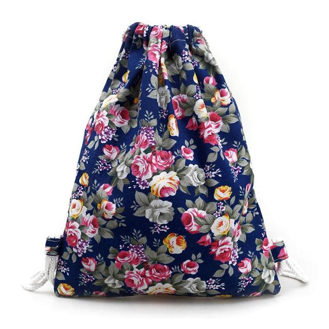 88f6c08e7 Drawstring Backpack Womens Floral Canvas Backpack Fashion Drawstring  Backpack String Bag Package Drop Ship Wholesale #Y