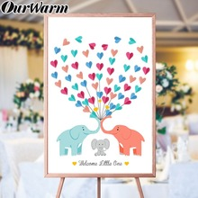 OurWarm DIY Guest Book Kids Birthday Gift Elephant Signature Canvas Painting Love Heart Paper Card Sign Baby Shower Decoration