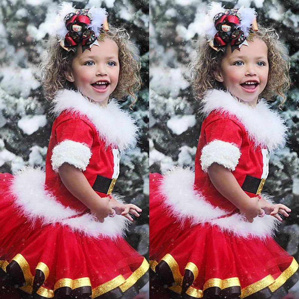 f48377575d6 ARLONEET для маленьких девочек рождественское платье младенческой обувь  Рождество пушистые Топы юбка пачка костюмы комплект L0927
