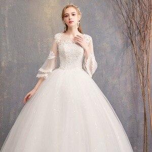 Image 4 - Nuovo Disegno di Vendita Caldo Classico Semplice Bianco Viory Abiti di Sfera Noiva Casamento Moda Robe De Mariage Sette Sleeve Custom Made