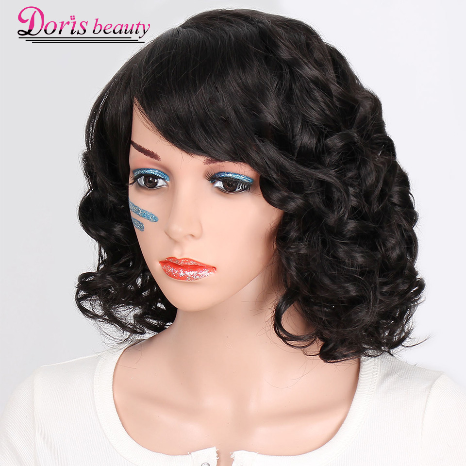 Doris Beauty Black Synthetic Short Wigs For Women With Bangs Wavy Short Wig Heat Resistant Fiber Red Cosplay