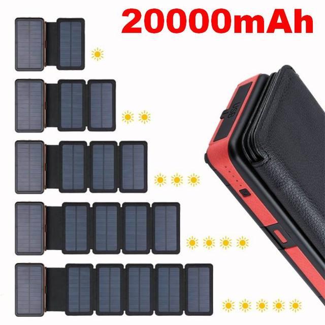 20000mAh LED Solar Power Bank Folding Foldable Portable Solar Panel Solar Charger External Battery Solar Powerbank For Phone 1