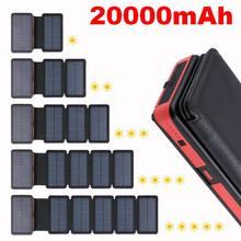 цена на 20000mAh LED Solar Power Bank Folding Foldable Portable Solar Panel Solar Charger External Battery Solar Powerbank For Phone
