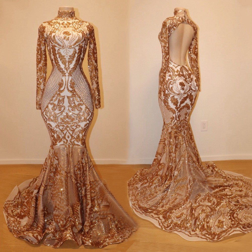 Gold Long   Prom     Dresses   2019 Sexy Glitter Sequins Long Sleeve High Neck Backless Women Evening   Prom   Party Gowns For Black Girls