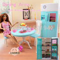 Free Shipping Girl birthday gift plastic Play Set  refrigerator + kitchen table doll accessories doll furniture for barbie doll