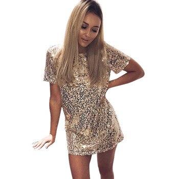 Платье короткое женское с золотыми блестками для клуба