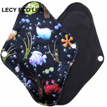 [Lecy Eco Life] hot sell washable panty liner with bamboo charcoal inner, Cloth Menstrual pads open size 16*22cm 1