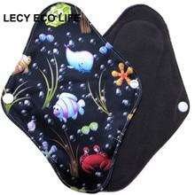 [Lecy Eco Life] oferta de forro de panty lavable con interior de carbón de bambú, almohadillas menstruales de tela tamaño abierto 16*22cm
