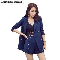 Business Suits Women 2 Piece Set 2018 Spring Summer Formal Blazers Lapel Collar Coat + Metal Button Short Pant Set