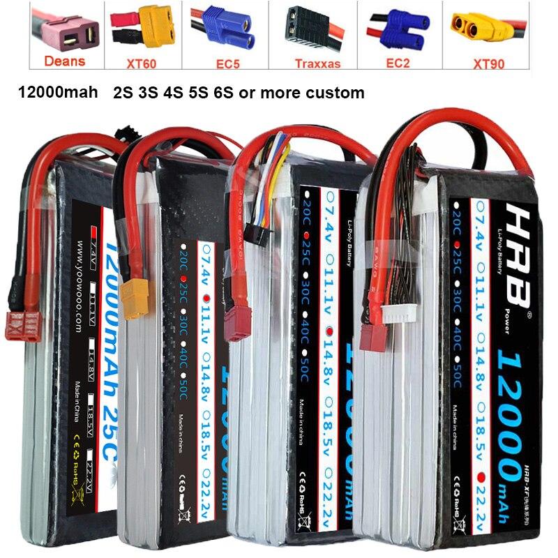 HRB Lipo Battery 12000mAh 7 4V 11 1V T Dean 14 8V 18 5V 22 2V