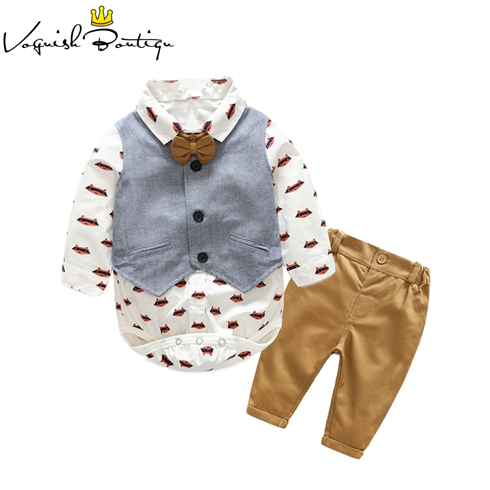 Kimocat newborns clothes casual baby boy for newborn cotton infant clothing jumpsuit with vest and pant