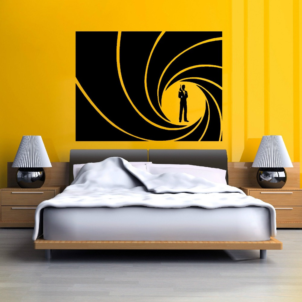 Quality james bond 007 golden gun vinyl wall art sticker for 007 decoration ideas