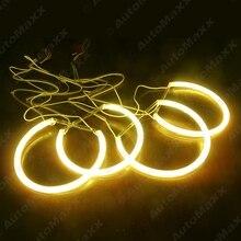 FEELDO 4X 131mm For BMW E46,E36,E38,E39 Light Kits Yellow Car CCFL Halo Rings Angel Eyes Headlights #AM4170