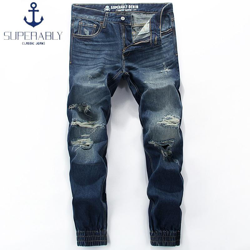 European American Street Fashion Mens Jeans Blue Color Denim Ripped Jeans Men Jogger Pants Superably Brand Ankle Banded Jeans men s cowboy jeans fashion blue jeans pant men plus sizes regular slim fit denim jean pants male high quality brand jeans