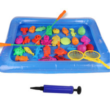 32 Pcs/Lot Magnetic Fishing Toy With Inflatable Pool Rod Net Set Fishing Game 3D Fish Bath Toys Outdoor Toys For Children(China)