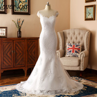 Lover Kiss 2018 Mermaid Wedding Dress Scoop Neck Applique Lace Full Length Bridal Gown Robe de Mariage with Button Sweep Train