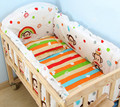 Wooden Baby Bed Multifunctional Baby Crib Newborn Baby Playpen Crib Large Space Lengthen Baby Rocking Cradle 5pcs Bed suit C01