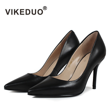 VIKEDUO Classic Black Genuine Cow Leather Shoe Pointed Toe Concise Dance Dress Business Original Design High Heels Women Shoes