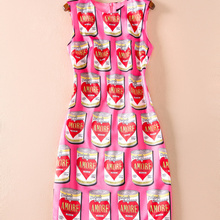 Novelty Designer Women Print Dress Fashion O-Neck Sleeveless Sheath Dre