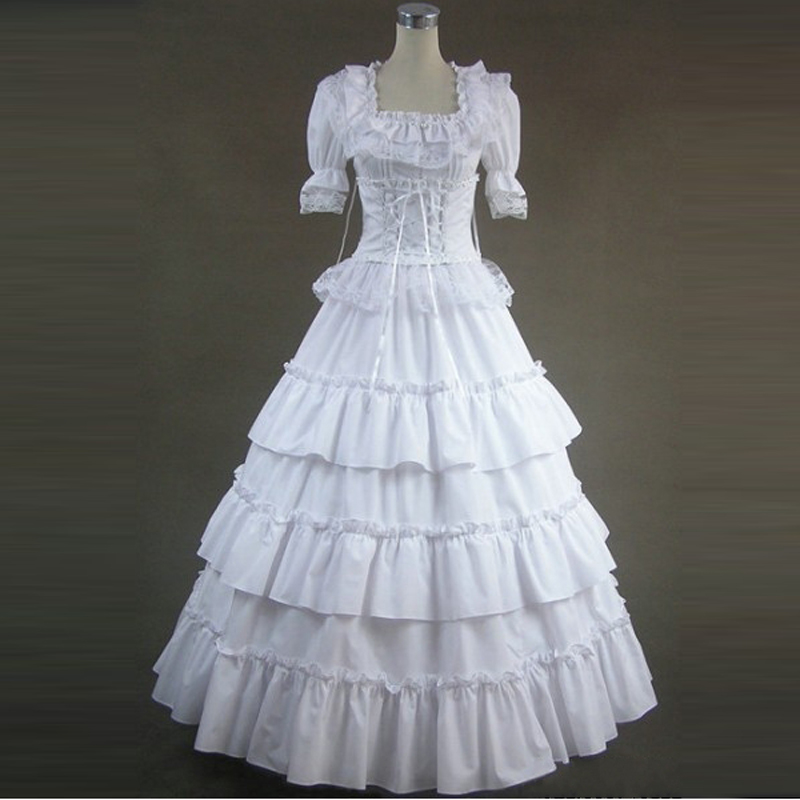 summer women victorian Vintage long lolita dress Ladies party bandage lace Ruffled gothic dress lolita costumes custom made