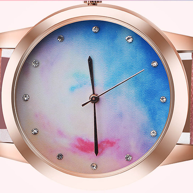 women watches top brand luxury Retro Rainbow Design Leather Band Analog Alloy Quartz Wrist Watch #TX4