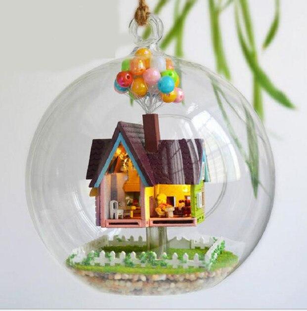 Diy Wooden Dollhouse Mini Glass Dollhouse Miniature Room: DIY Glass Ball Vase Bottle 3D Wooden Dream Dollhouse